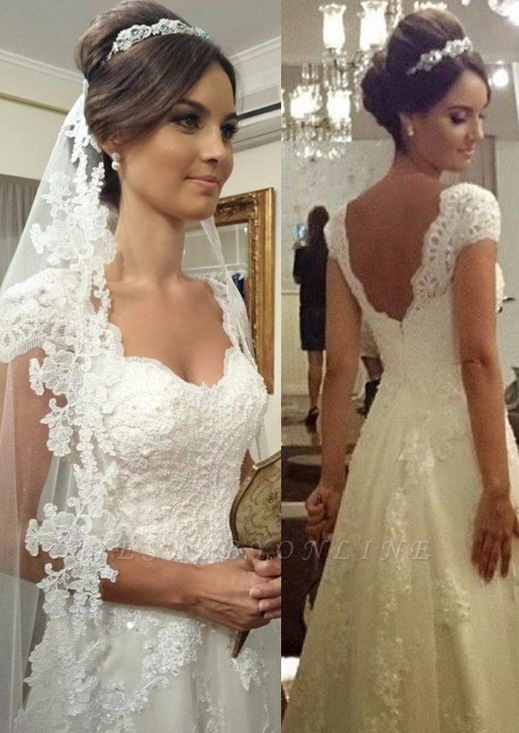 Modern Short-sleeves Zipper A-line Straps Lace Wedding Dress
