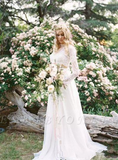 Long Sleevess Glamorous Chiffon Two-Piece A-line Lace Wedding Dresses