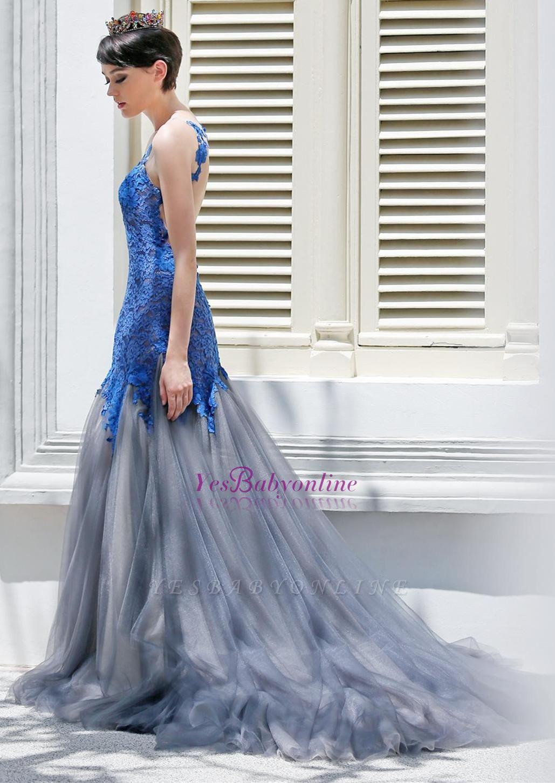 Glamorous Sexy Mermaid Appliques Tulle Sleeveless Evening Dress