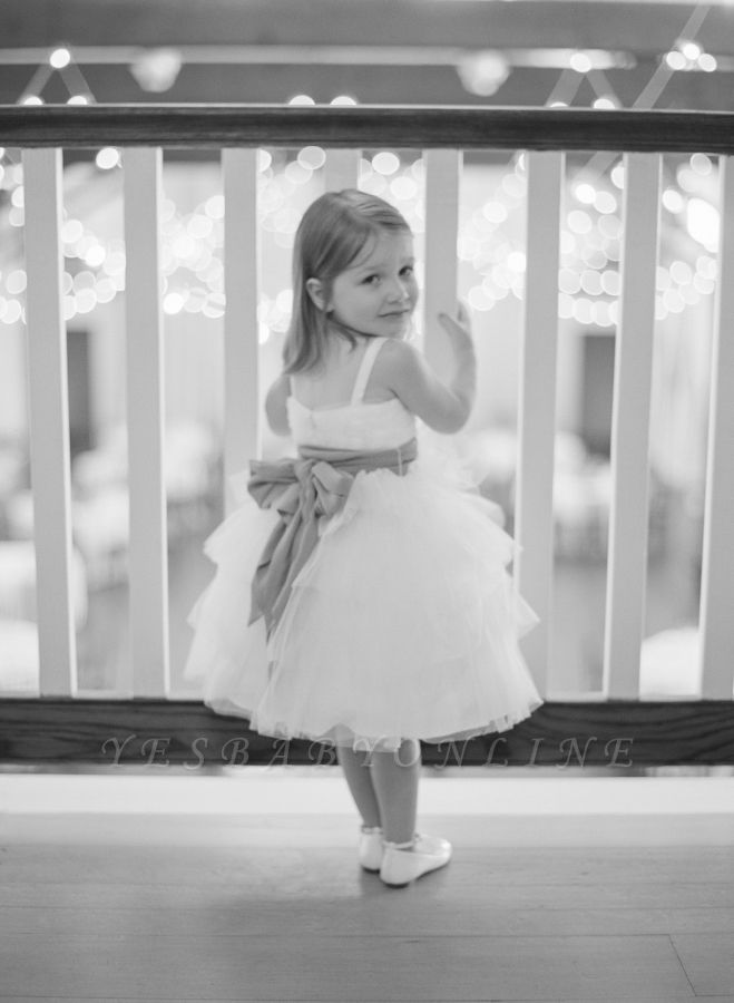 Sweet Bowknot Tulle Tea Length Flower Girl Dress | Cute Custom Made Dresses for Girl