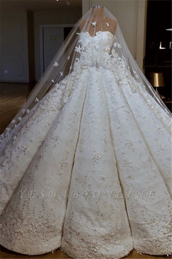 Luxurious Sweetheart Applique Ball Gown Wedding Dresses | Puffy Bridal Gown