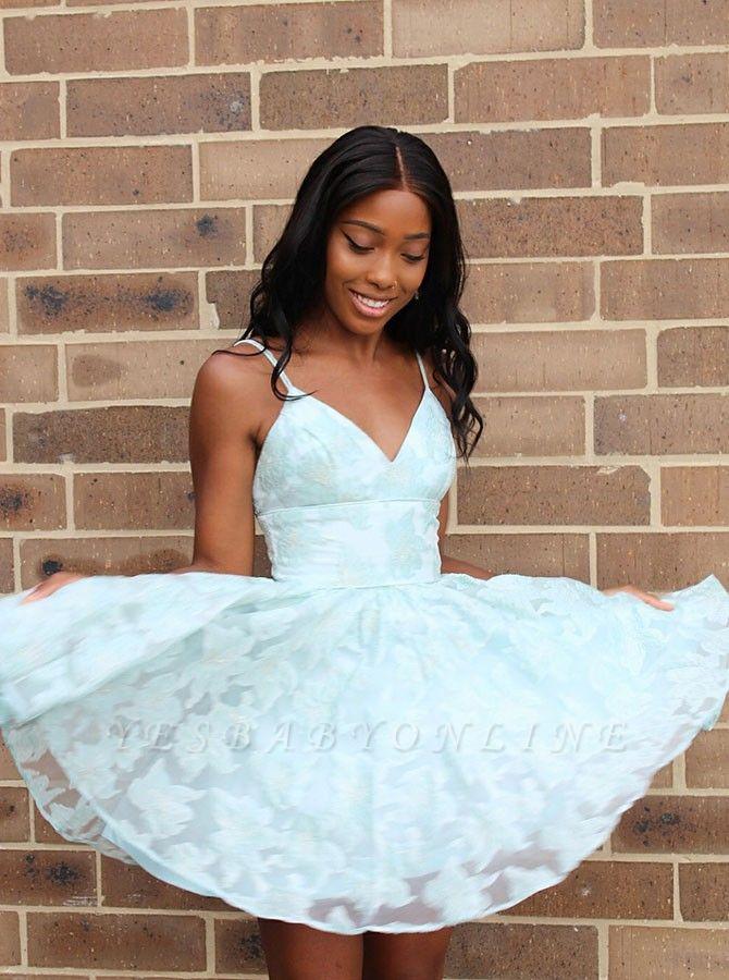 Cute Lace Spaghetti Strap A-line Homecoming Dress | Short Formal Dress