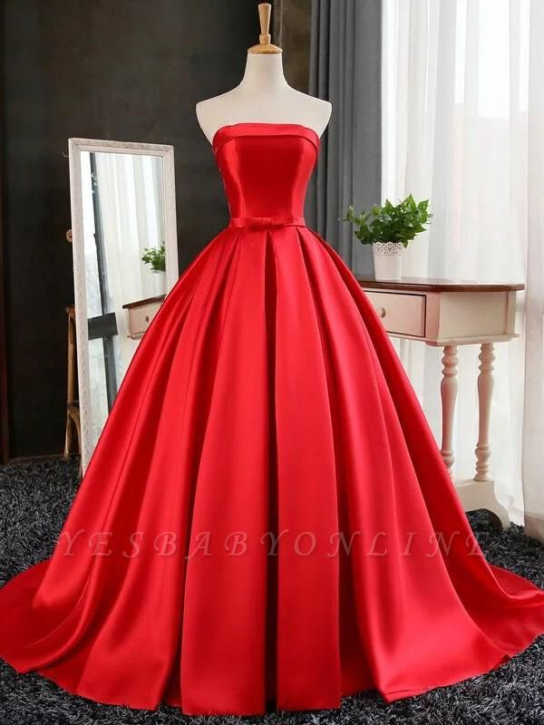 Puffy Strapless Simple Red Bows-Sashes Prom Dresses