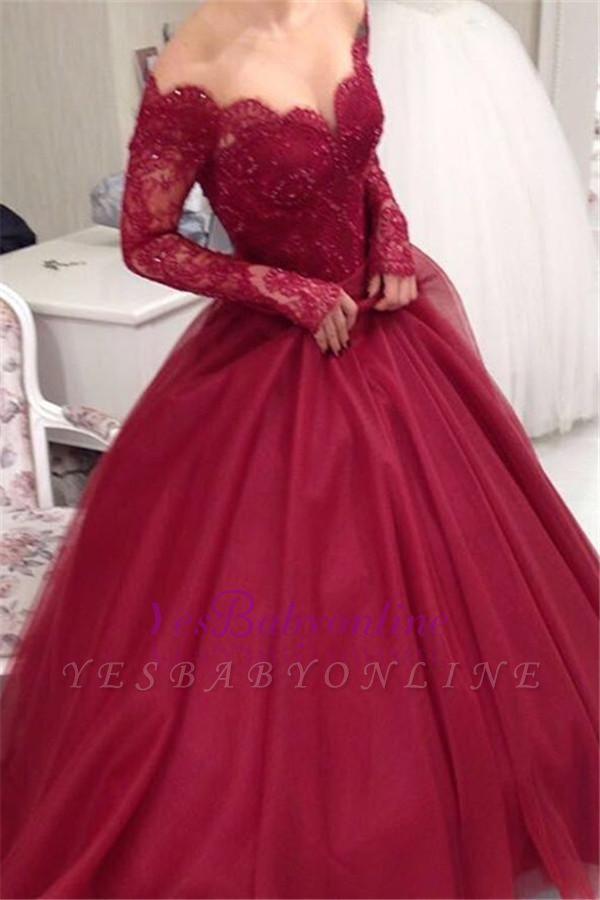 Elegant Princess Ball-Gown Long-Sleeves Off-the-shoulder Lace V-neck Tulle Evening Dresses