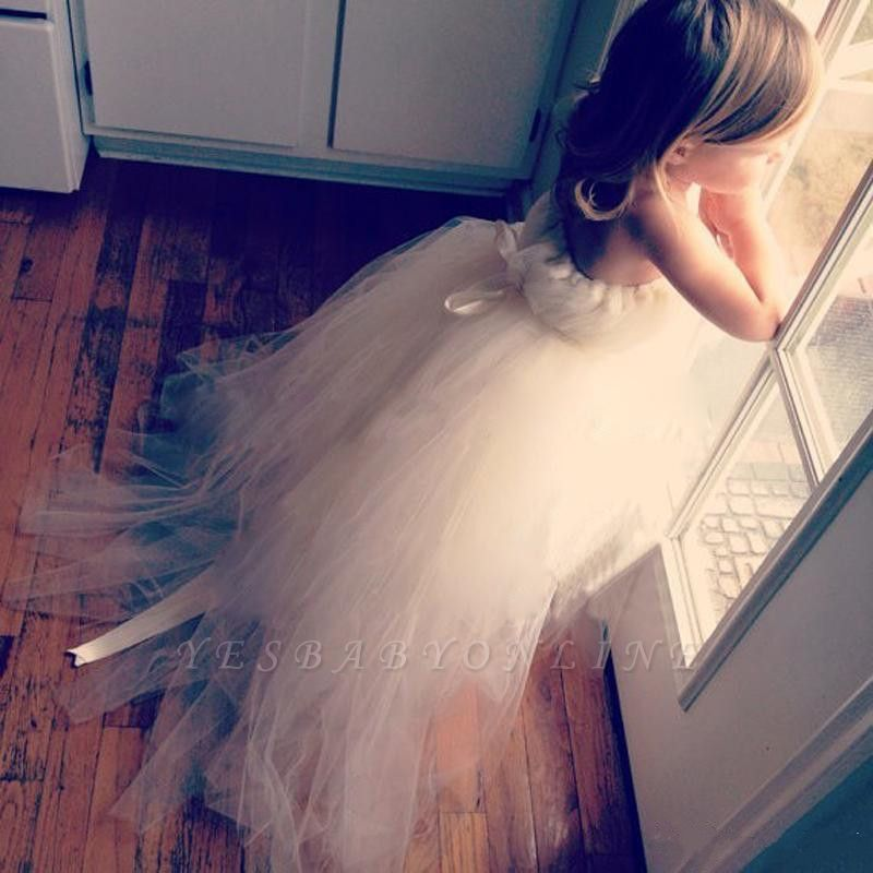 Lovely Lace-up Sweep Train Tulle Princess Flower Girl Dress