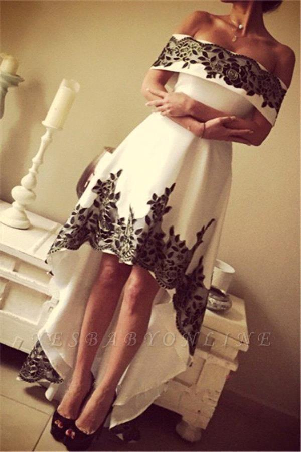 Off-the-shoulder Hi-Lo Appliques Lace Elegant Prom Dress
