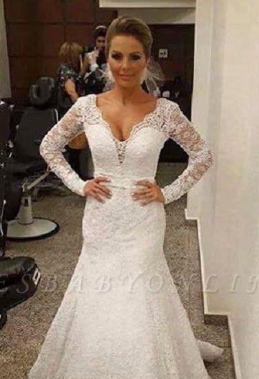 Mermaid V-neck Backless Long Sleevess Sashes Lace Sexy Wedding Dress
