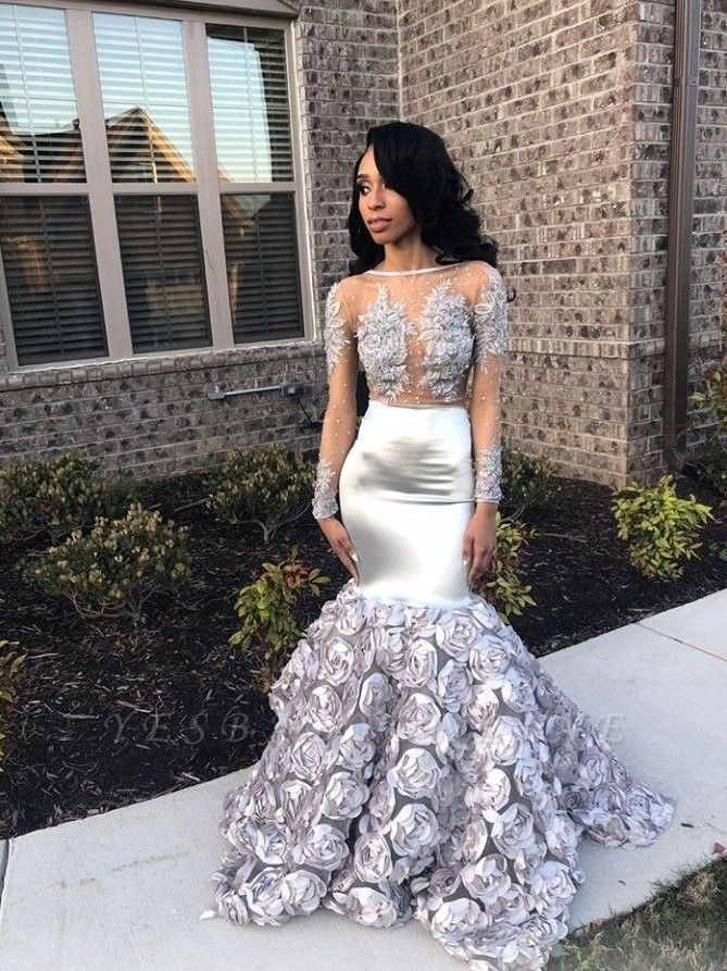 Elegant Long Sleeves Mermaid Prom Dresses | Appliques Evening Gown With Unique Train