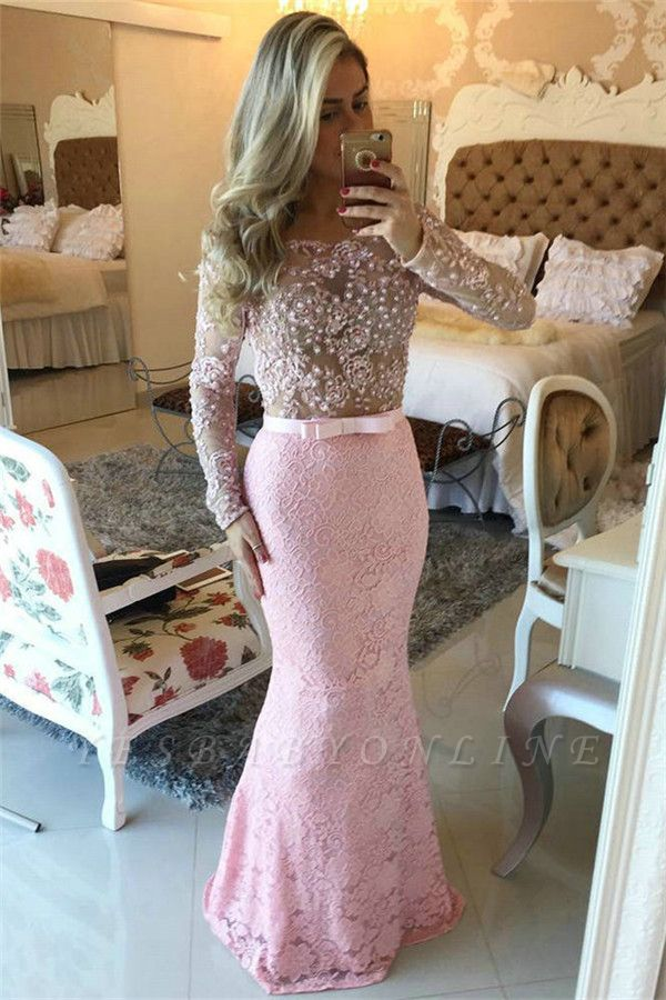 Off-the-Shoulder Lace Pink Pearls Mermaid Long-Sleeves Long Prom Dresses