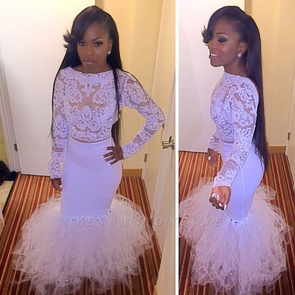 Mermaid Cheap Dress Prom Tulle Two-Piece Lace Long-Sleeves
