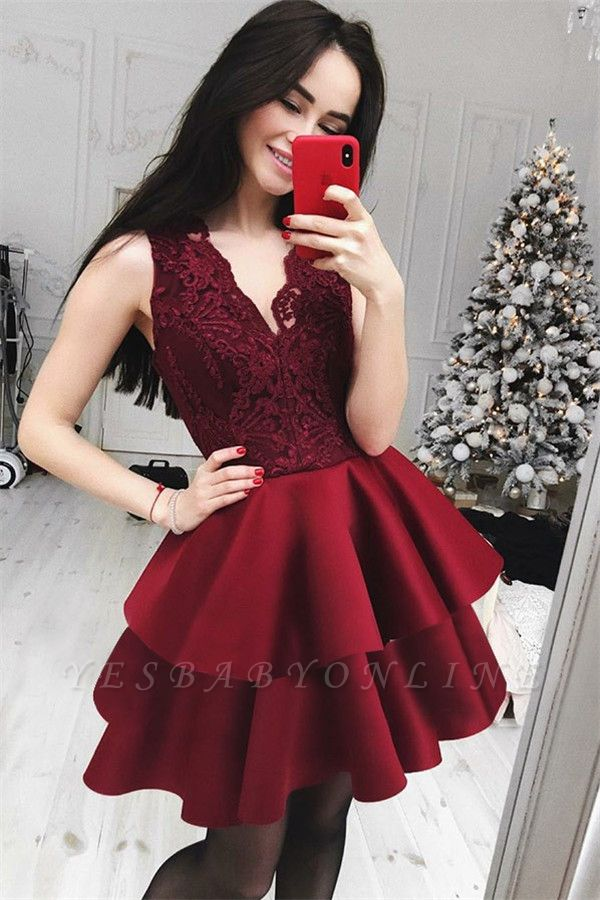 Burgundy Lace Short V-Neck Hoco Dresses 2019 | Cheap Lace Tiered Homecoming Dresses Online
