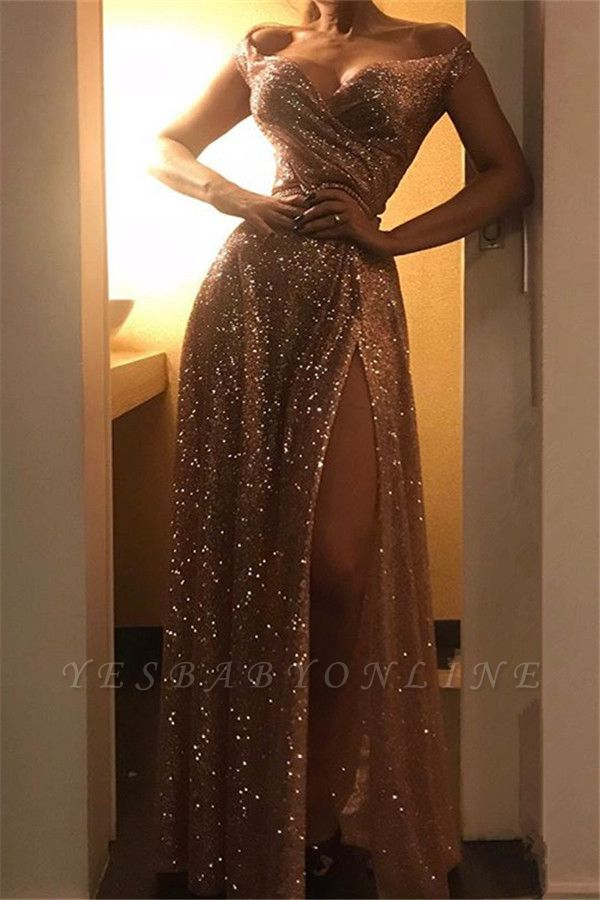 Off The Shoulder Sexy Ruffles Side Slit Sequins Long Prom Dresses