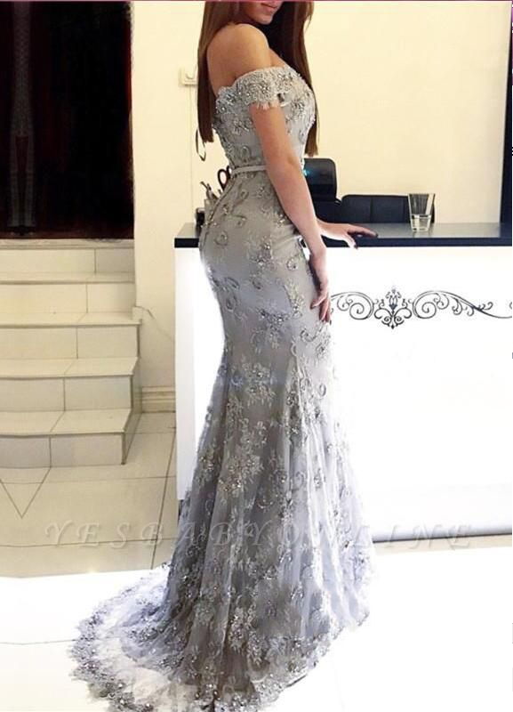 Mermaid Off-the-Shoulder Prom Dresses | Sweetheart Long Silver Evening Gowns