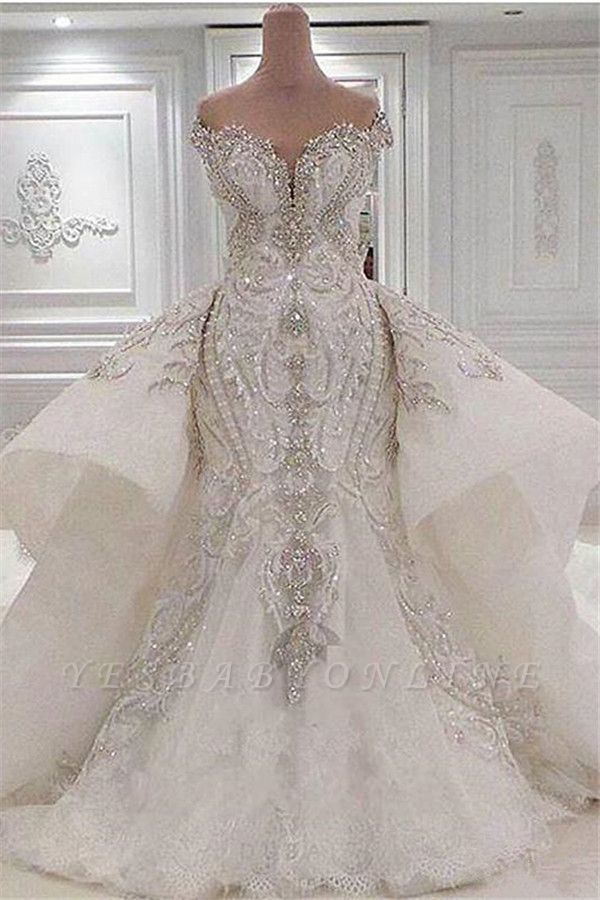 Sparkly Off the Shoulder Applique Mermaid Wedding Dresses With Detachable Train | Crystal Beaded Bridal Gown