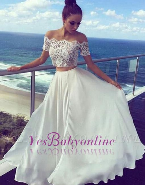 Lace Off-the-shoulder Long White Two-pieces Evening Dress