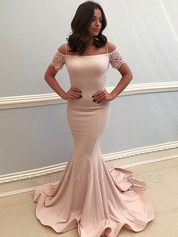 Elegant Spaghetti-Strap Evening Dresses | Bateau Mermaid Prom Dresses