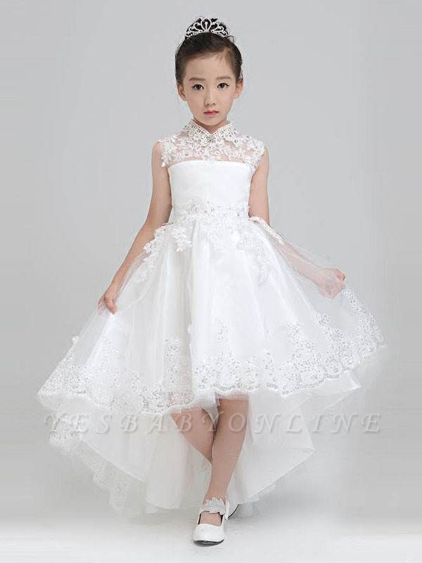Lovely A-Line Hi-Lo Tulle High Neck Sleeveless Flower Girl Dress with Appliques