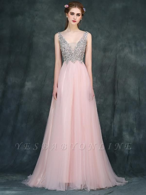 Luxury Backless Pink Long A-line Beaded V-Neck Prom Dresses