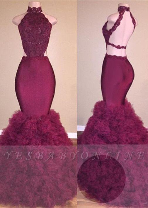 2019 Mermaid Prom Dresses High Neck Backless Ruffles Skirt Evening Gowns