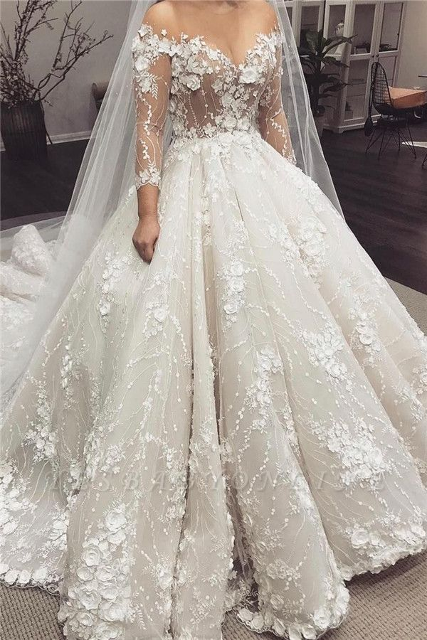 Glamorous Sheer Jewel Neck Long Sleeve Flowers Ball Gown Wedding Dresses | Puffy Beaded Bridal gown
