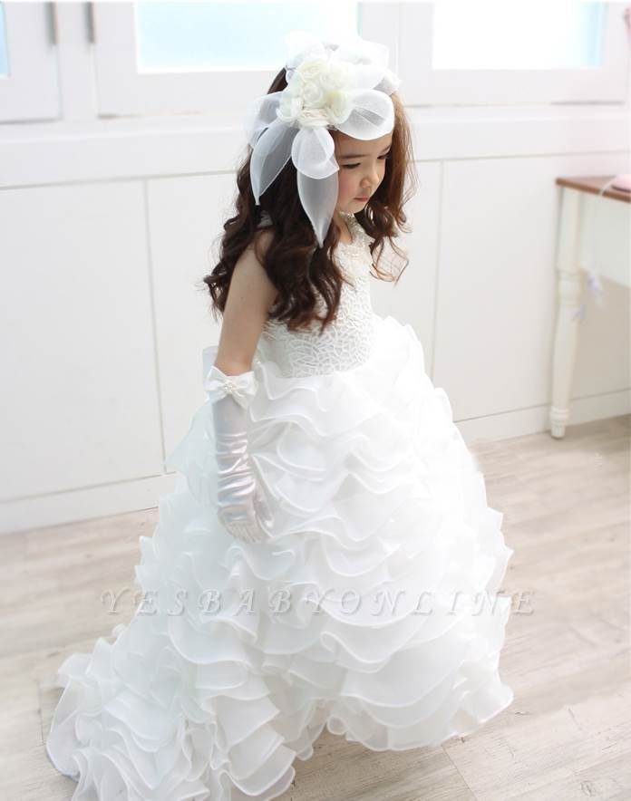 Lovely Organza Lace Layered Bowknot Floor-Length Flower Girl Dress with Pearls