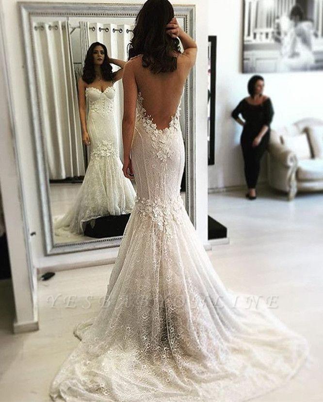 Backless Lace Sweep Train Sweetheart Mermaid Sexy Wedding Dresses