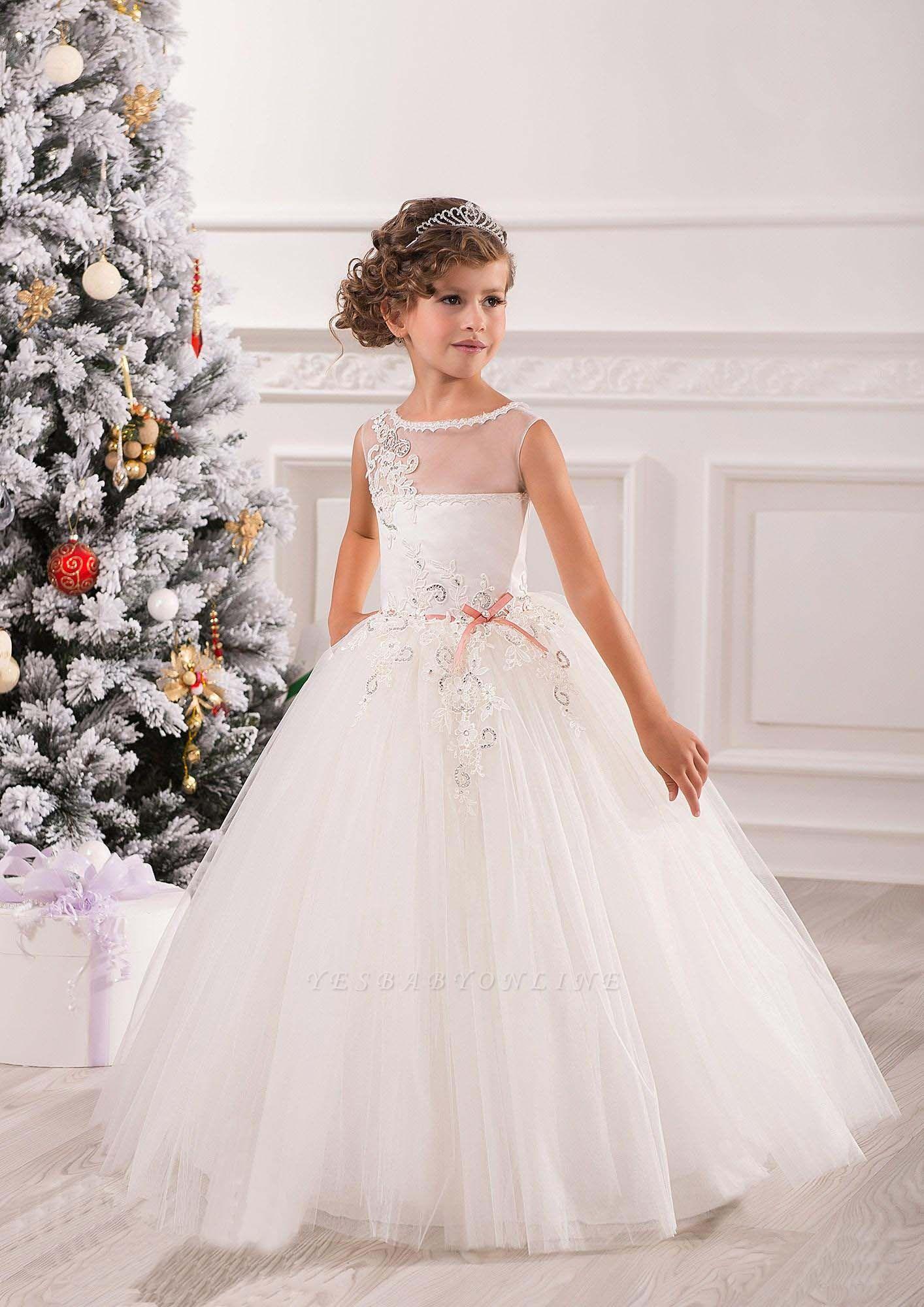 Lovely Princess Sleeveless Puffy Tulle Flower Girl Dress