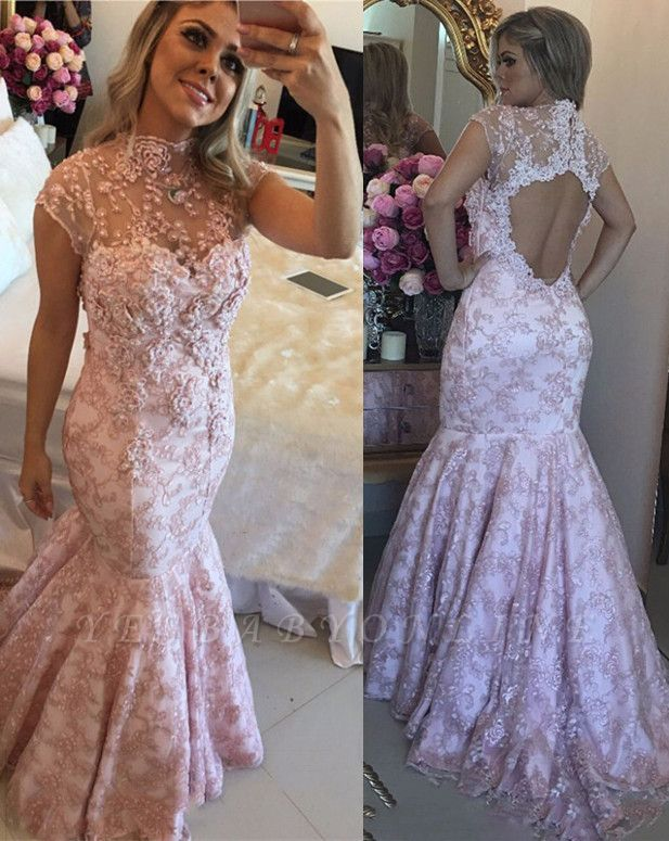Lace Beaded Pink High-Neck Cap-Sleeves Open-Back Prom Dresses