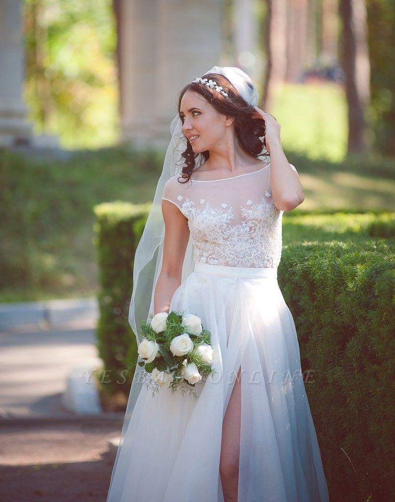 Cap-Sleeve Lace Tulle Split Glamorous Sweep Train Wedding Dress