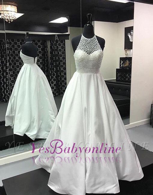 Halter White Back-zipper Beads Long Evening Dress