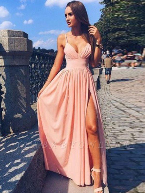 Sexy Deep-V-Neck A-line Side-Slit Spaghetti-Straps Prom Dresses