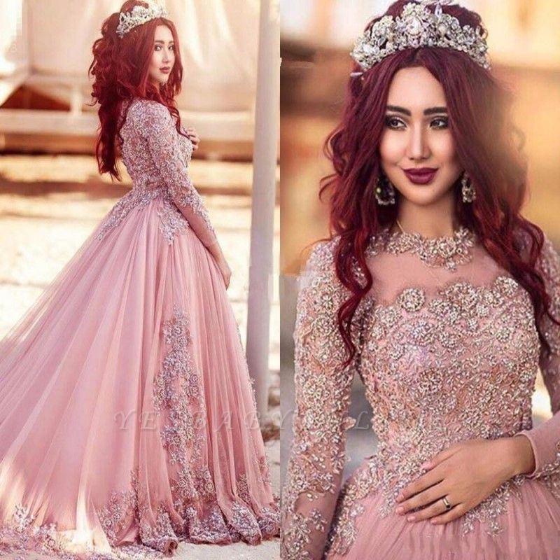 Elegant Long Sleeves Prom Dresses  Appliques Crystal Ball Evening Gowns