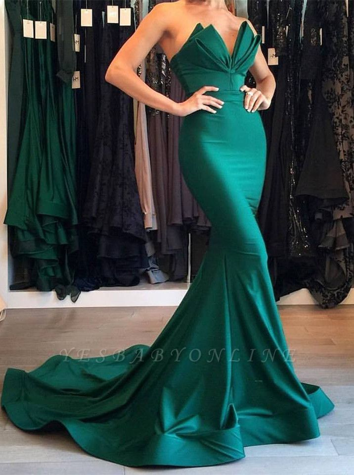 Designer Green Sexy Mermaid Evening Gown Long Party Gowns On Sale BA7134