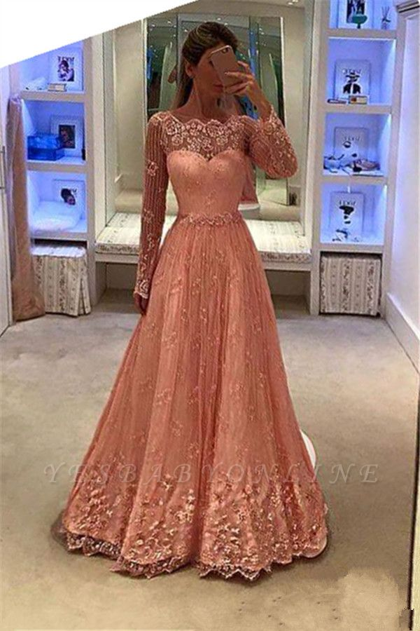 Appliques A-Line Lace Long-Sleeves Newest Prom Dress