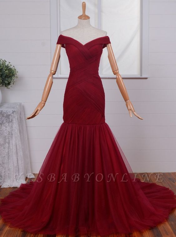 Ruched Red Off-the-Shoulder Long Tulle Mermaid Prom Dresses