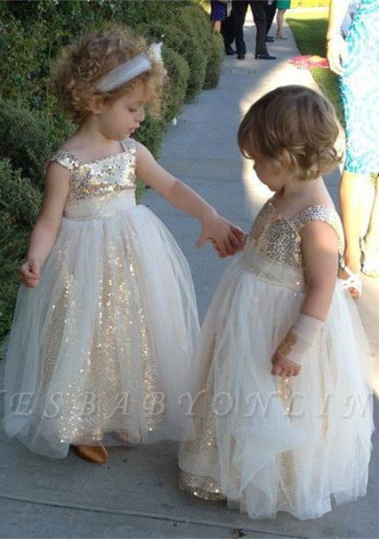 Gorgeous Straps Sleeveless Sequined Tulle A-line Flower Girl Dress