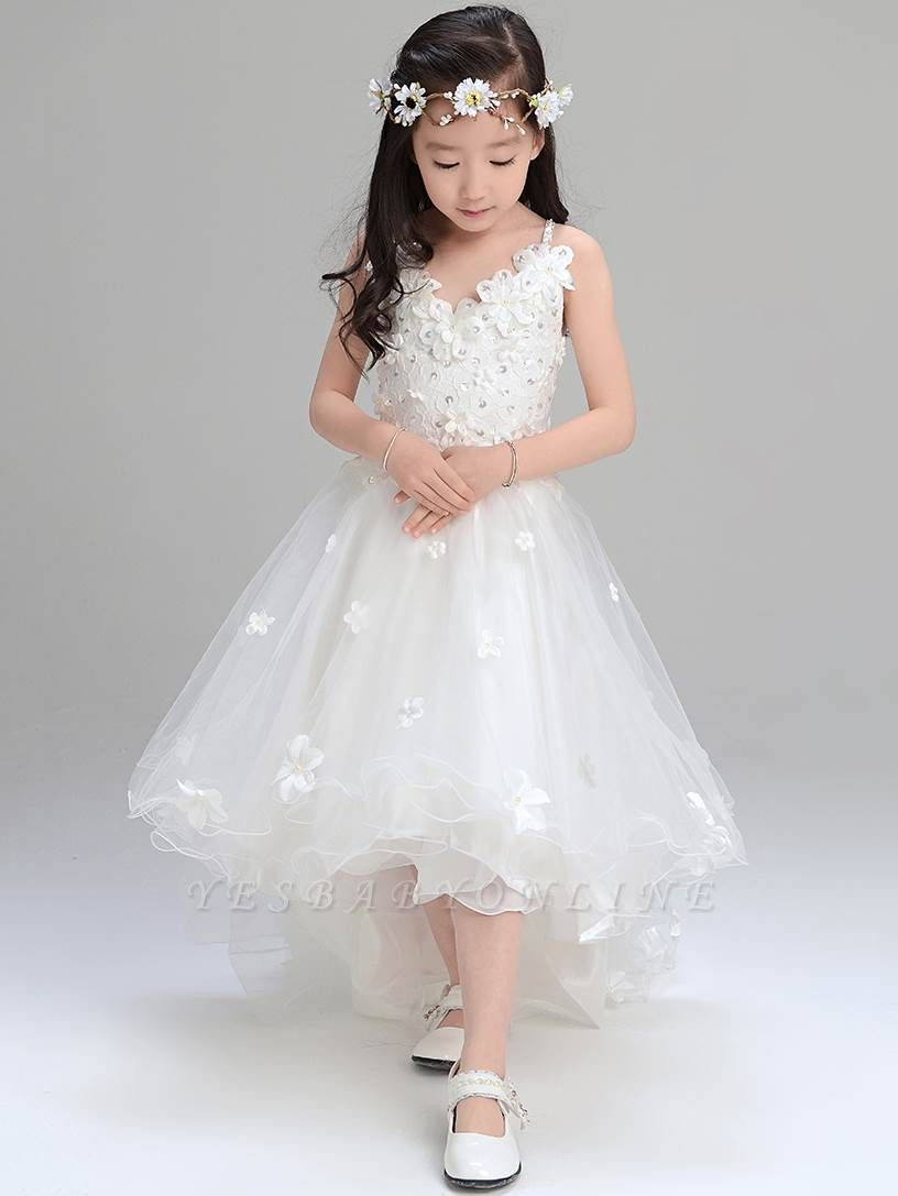 Lovely A-Line Tulle Spaghetti Straps Hi-Lo Sleeveless Flower Girl Dress