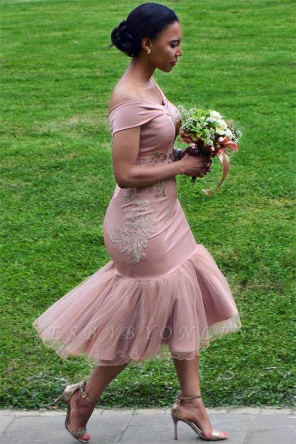 Off The Shoulder Pink Bridesmaid Dresses Cheap Online | Appliques Mermaid Sexy Short Bridesmaid Dress 2019 BA9508