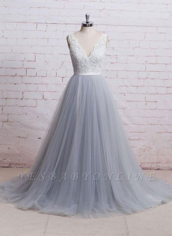 Sweep-Train Lace Bodice  Skirt V-neck A-line Prom Dresses