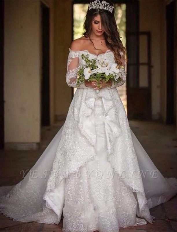 Beautiful Off-the-Shoulder Long Sleeves Lace Princess Wedding Dress