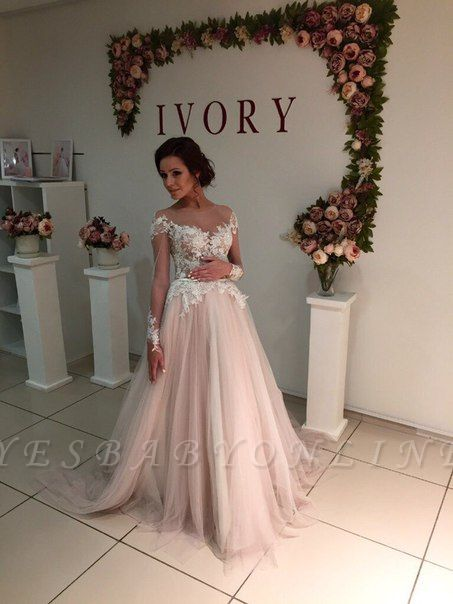 Sweep-Train A-line Delicate Tulle Appliques Lace Long-Sleeve Bridal Dress
