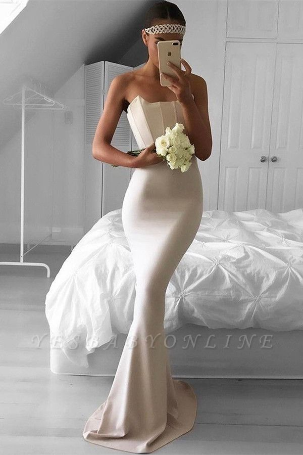 Elegant Mermaid Simple Sweep-Train Strapless Prom Dress