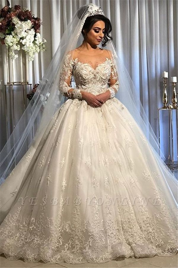 Graceful Jewel Long Sleeve Applique Crystal Ball Gown Wedding Dresses With Sheer Neck