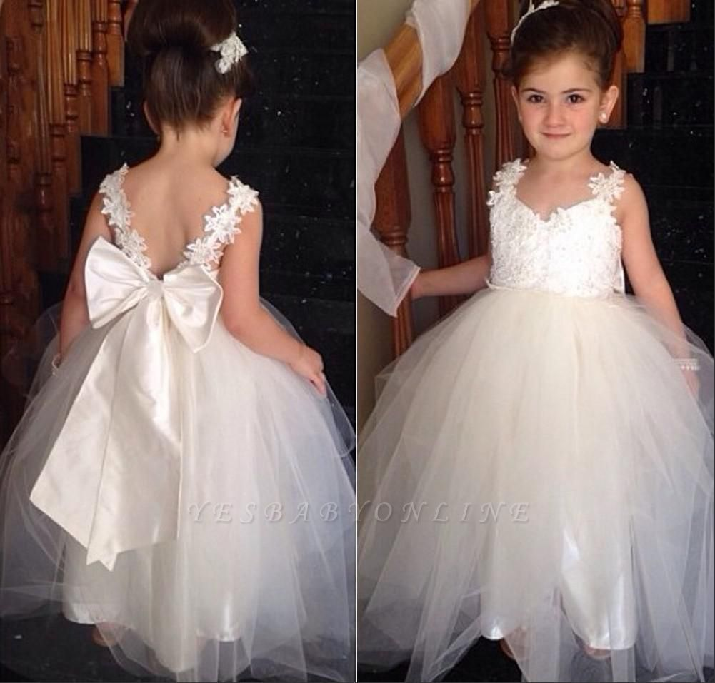 Sweet Tulle Lace Applique Flower Girl Dresses | Backless Long Bowknot Children Gowns BO8533