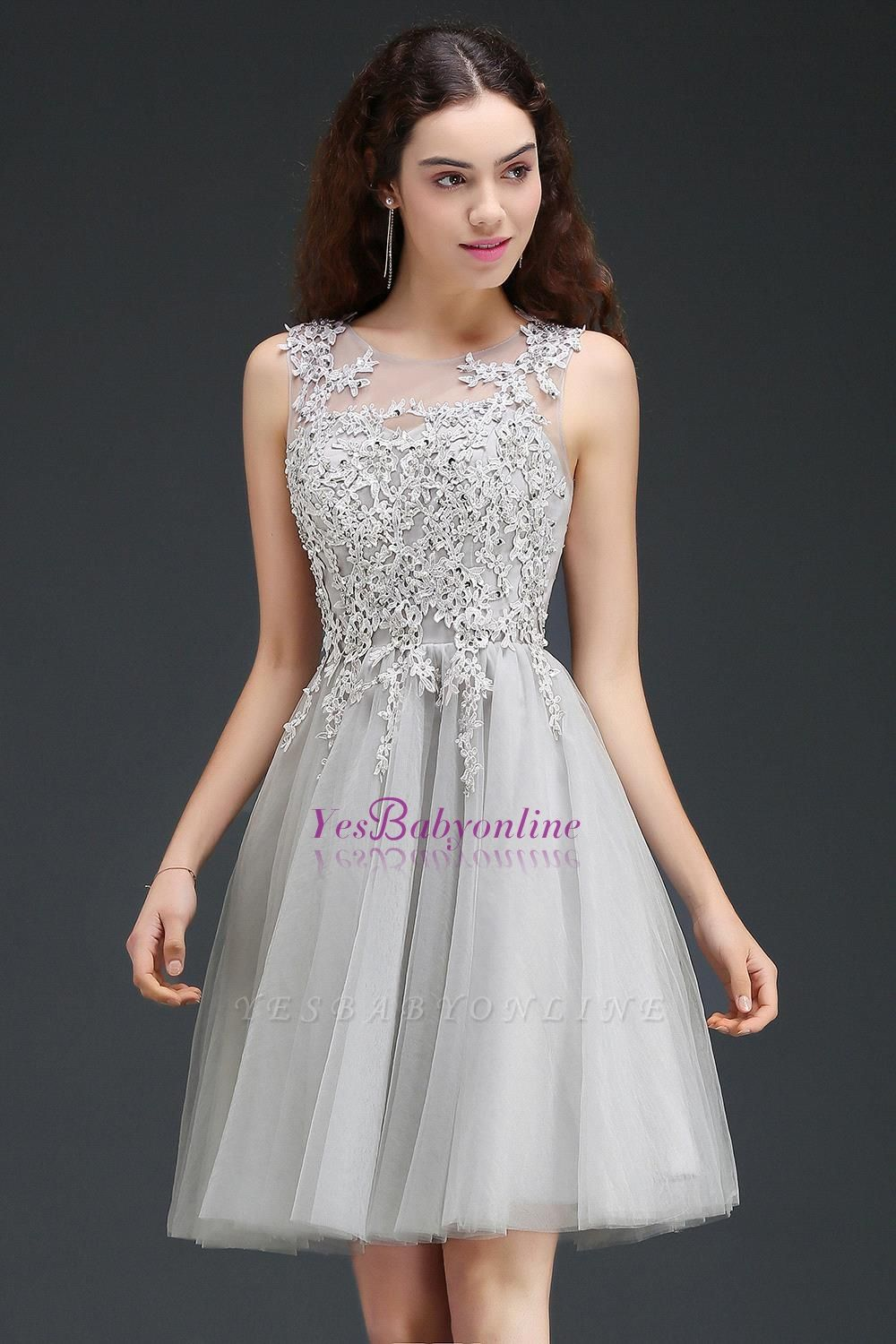 Lace Appliques Silver Jewel Sleeveless Short Homecoming Dress