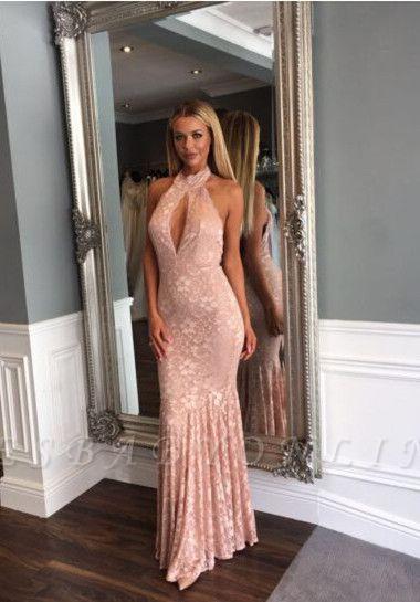 Mermaid Sleeveless Newest Backless Lace Floor-length High-Neck Prom Dress