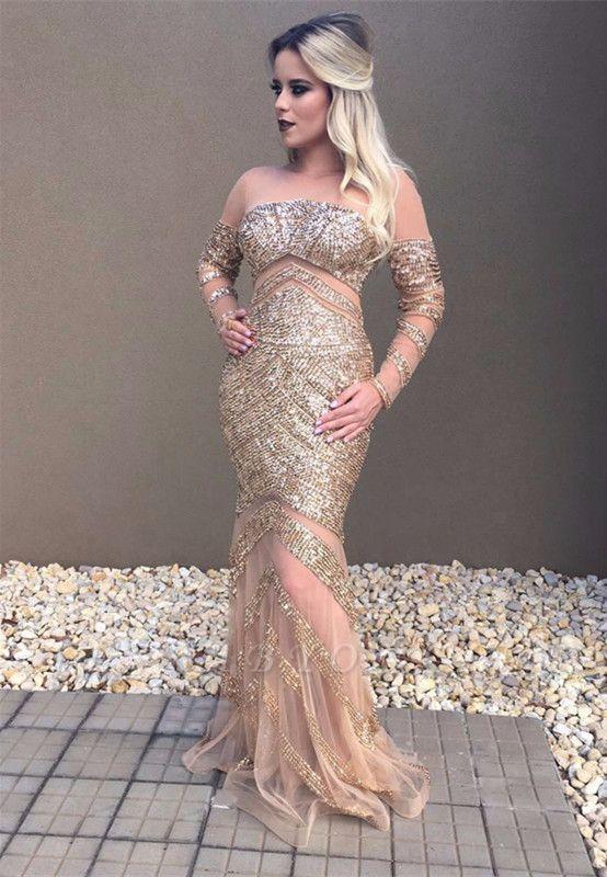 Mermaid Long-Sleeve Glamorous Beadings Prom Dress