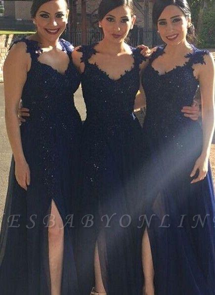 Navy-Blue Chiffon Lace-Appliques Side-Slit A-line Bridesmaid Dresses