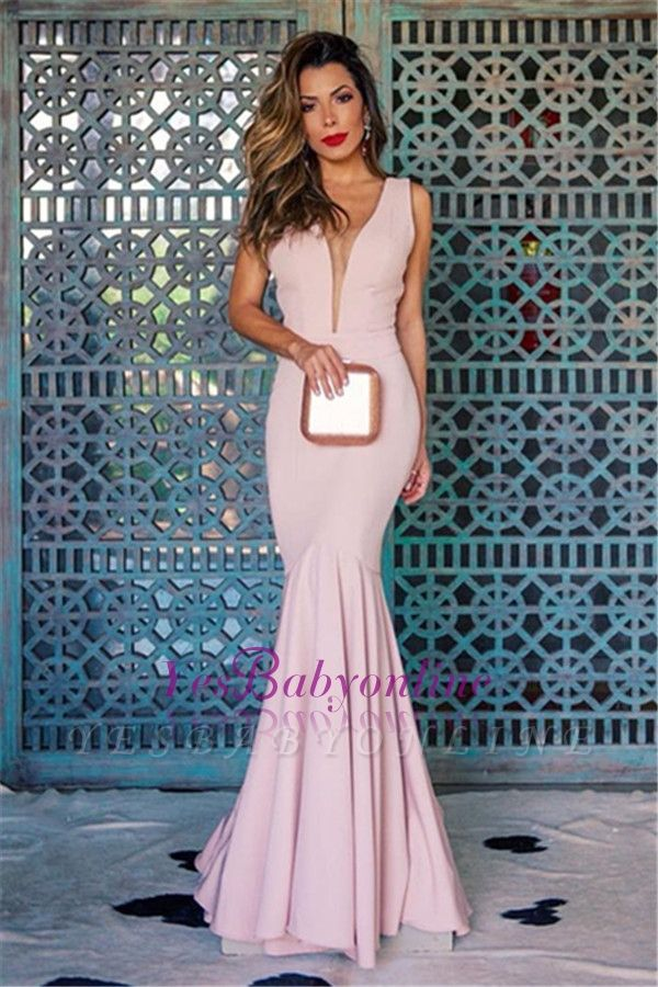 Sleeveless Long Open-Back Mermaid V-Neck Sexy Evening Gowns
