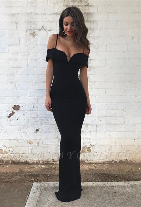 Off-the-Shoulder Mermaid Floor-length Black Modest Prom Dress